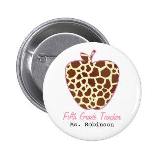 Fifth Grade Teacher Giraffe Print Apple 2 Inch Round Button