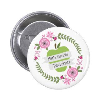 Fifth Grade Teacher Green Apple Floral Wreath 2 Inch Round Button