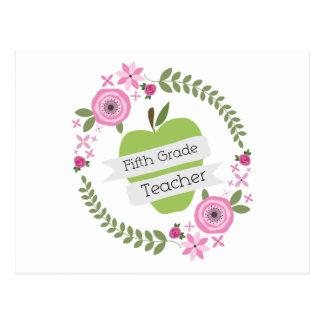 Fifth Grade Teacher Green Apple Floral Wreath Postcard