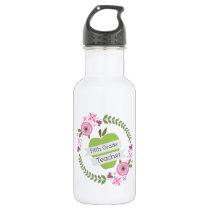 Fifth Grade Teacher Green Apple Floral Wreath Stainless Steel Water Bottle
