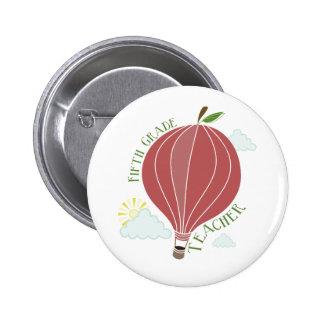 Fifth Grade Teacher Hot Air Balloon Apple 2 Inch Round Button