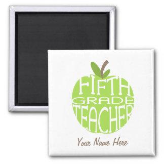 Fifth Grade Teacher Magnet - Green Apple