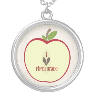 Fifth Grade Teacher Necklace - Red Apple Half