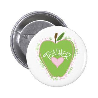 Fifth Grade Teacher Pink & Green Apple 2 Inch Round Button