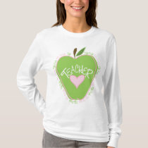 Fifth Grade Teacher Pink & Green Apple T-Shirt