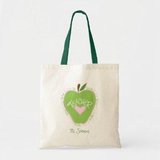 Fifth Grade Teacher Pink & Green Apple Tote Bag