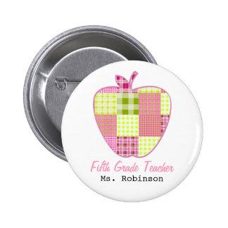 Fifth Grade Teacher Plaid Apple 2 Inch Round Button