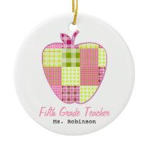 Fifth Grade Teacher Plaid Apple Ceramic Ornament