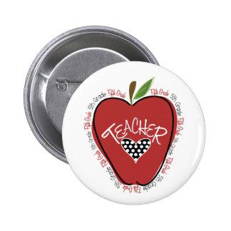 Fifth Grade Teacher Red Apple 2 Inch Round Button