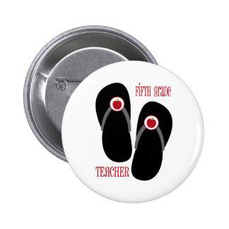 Fifth Grade Teacher Red Apple Flip Flops 2 Inch Round Button