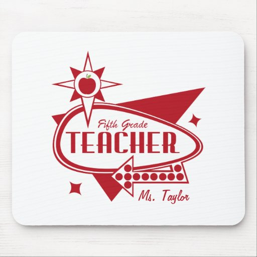 Fifth Grade Teacher Retro Red 60's Inspired Sign Mouse Pads