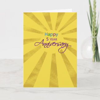 Fifth Year Employee Business Anniversary Sun Card