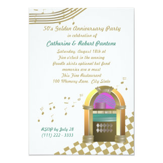 Fifties are Golden 5x7 Paper Invitation Card