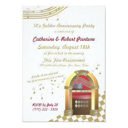 Fifties are Golden Anniversary Jukebox Invitation