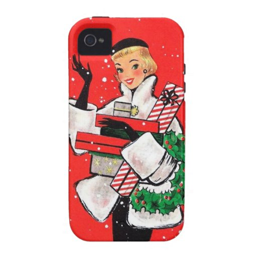 Fifties Christmas Shopper Vibe iPhone 4 Cover