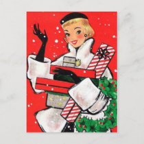 Fifties Christmas Shopper Holiday Postcard