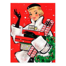 Fifties Christmas Shopper Postcard
