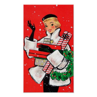 Fifties Christmas Shopper Poster