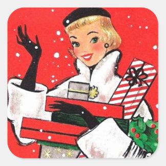 Fifties Christmas Shopper Square Sticker