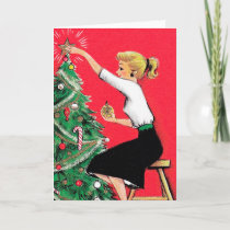Fifties Christmas Tree Trimmer Holiday Card