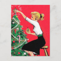 Fifties Christmas Tree Trimmer Holiday Postcard
