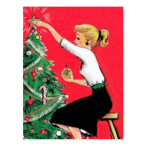 Fifties Christmas Tree Trimmer Postcard