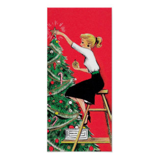 Fifties Christmas Tree Trimmer Poster