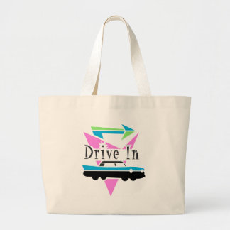 Fifties Drive In Large Tote Bag