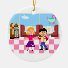 Fifties Fun Sock Hop Diner Ceramic Ornament