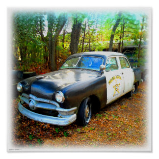 Fifties Highway Patrol Car in Junk Yard Weeds Poster