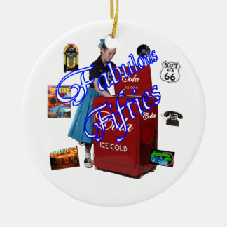 Fifties Memorbilia icons Double-Sided Ceramic Round Christmas Ornament
