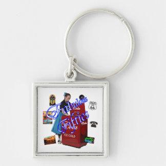 Fifties Memorbilia icons Silver-Colored Square Keychain