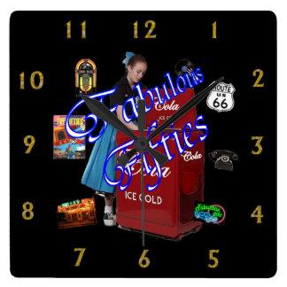 Fifties Memorbilia icons Square Wall Clock