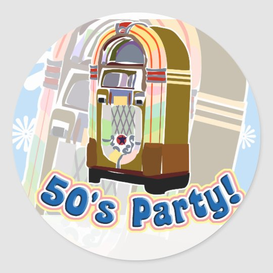 Fifties Party Classic Round Sticker