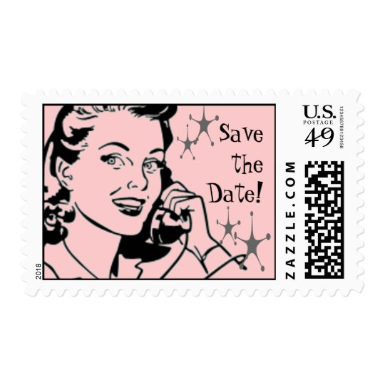 Fifties Phonecall Save the Date Postage