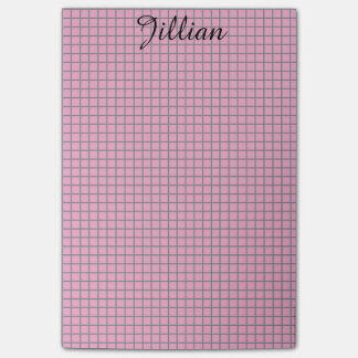 Fifties Pink and Gray Grid Post-it® Notes