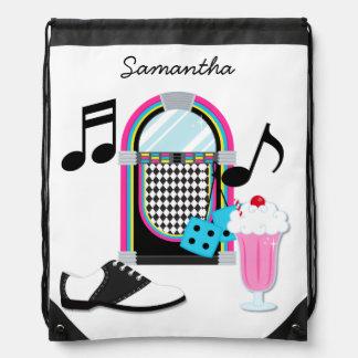 Fifties Sock Hop Drawstring Bag