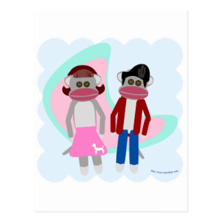Fifties Sock Hop Sock Monkeys Postcard