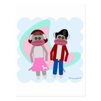 Fifties Sock Hop Sock Monkeys Postcard