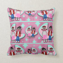 Fifties Sock Monkey Madness Throw Pillow
