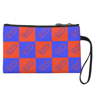 Fifties space rocket blue ribbon and red orange wristlet purses
