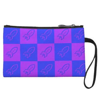 Fifties space rocket blue ribbon & electric violet wristlets