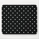 """Fifties Style Black and White Polka Dot Mousepad<br><div class=""""desc"""">Vintage style small black and white polka dot pattern Mouse pad. Retro design chic.</div>"""