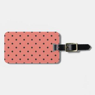 Fifties Style Coral Polka Dot Luggage Tags