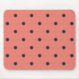 Fifties Style Coral Polka Dot Mouse Pad