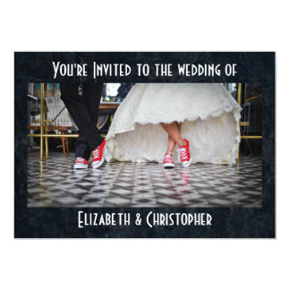 Fifties Style Diner  Red Shoes Wedding Card