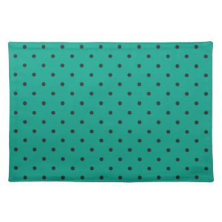 Fifties Style Emerald Green Polka Dot Cloth Placemat