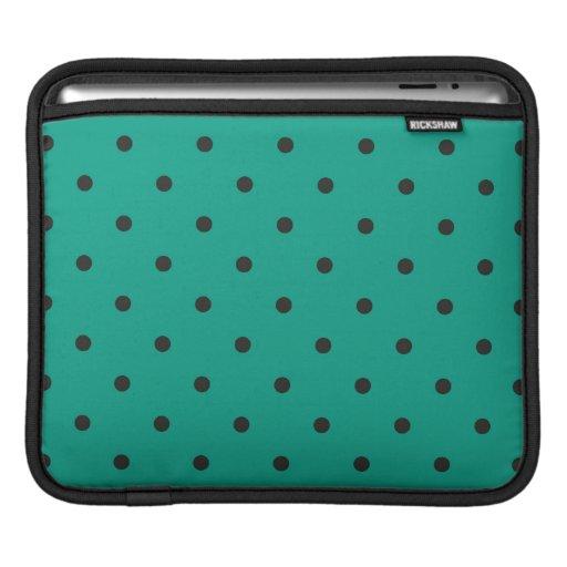 Fifties Style Emerald Green Polka Dot iPad Sleeves