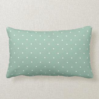Fifties Style Grayed Jade Green Polka Dot Lumbar Pillow