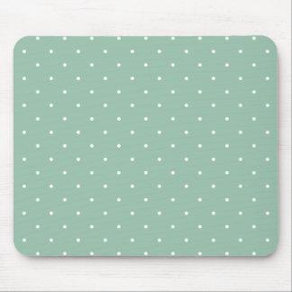Fifties Style Grayed Jade Green Polka Dot Mouse Pad